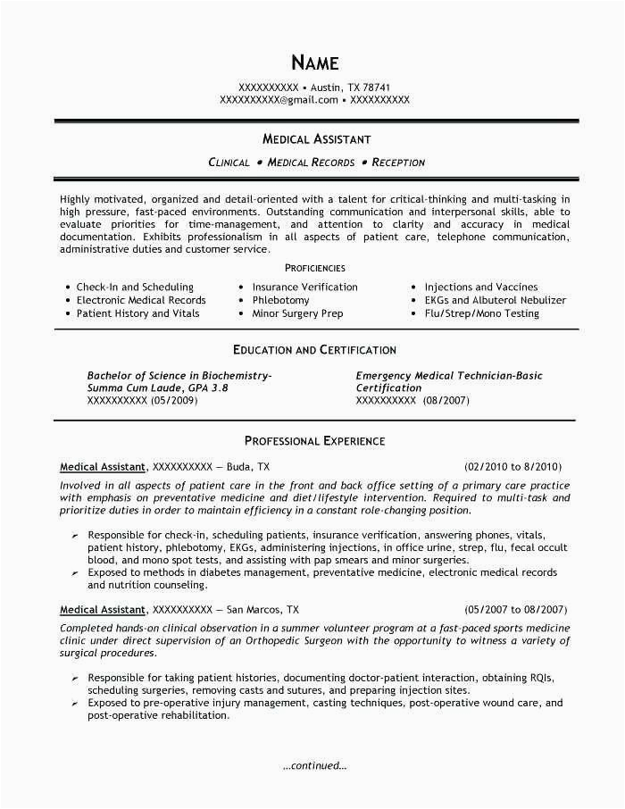 resume for medical assistant with no experience