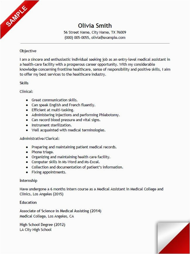 Resume Sample Medical assistant No Experience Entry Level Medical assistant Resume with No Experience