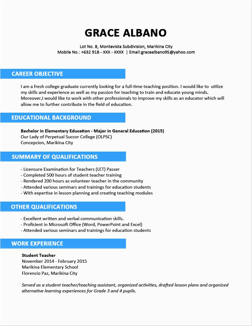 sample resume format fresh graduates two page