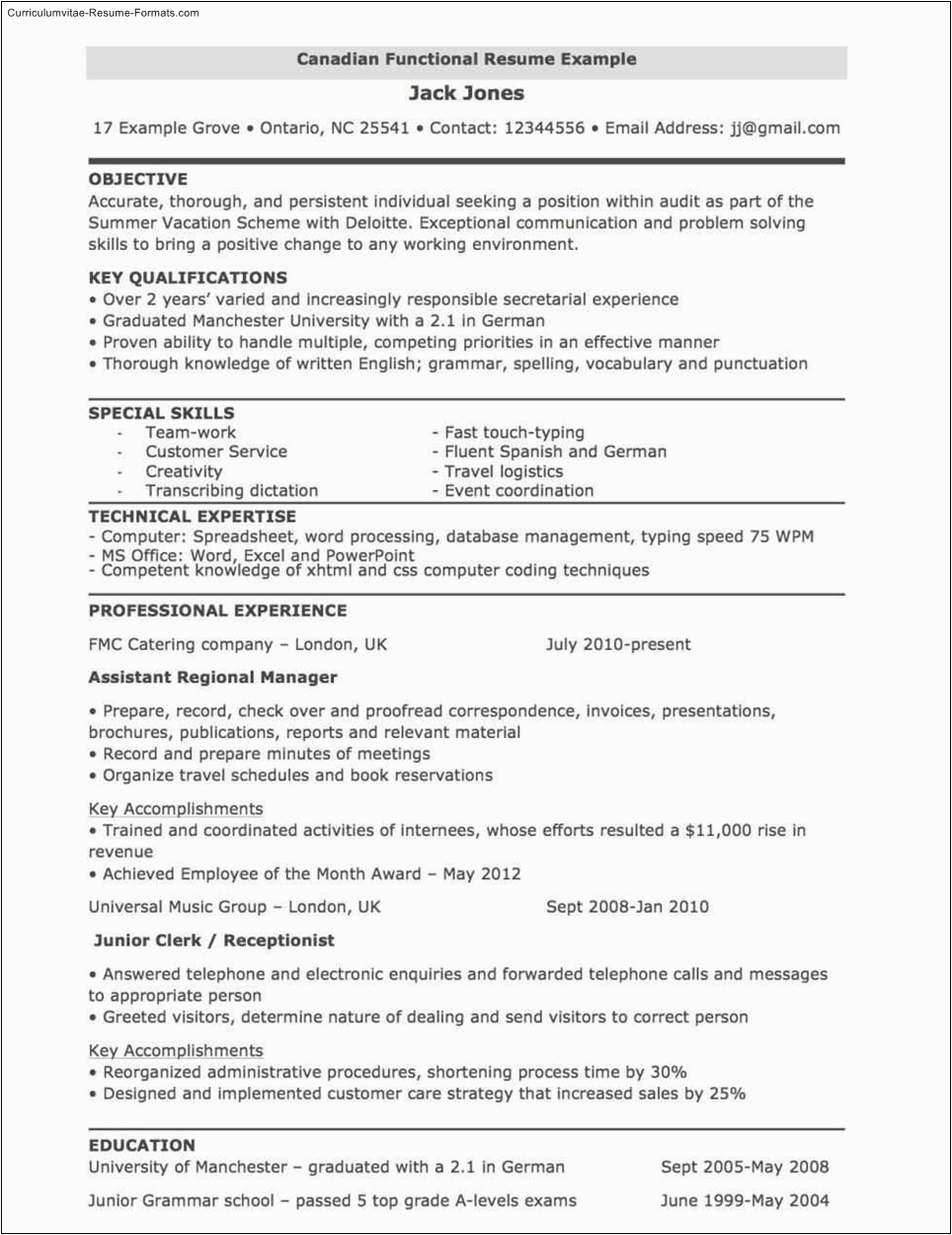 canada resume template