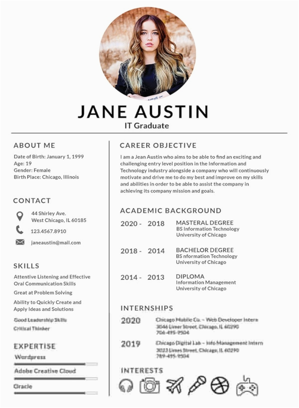 fresher resume template