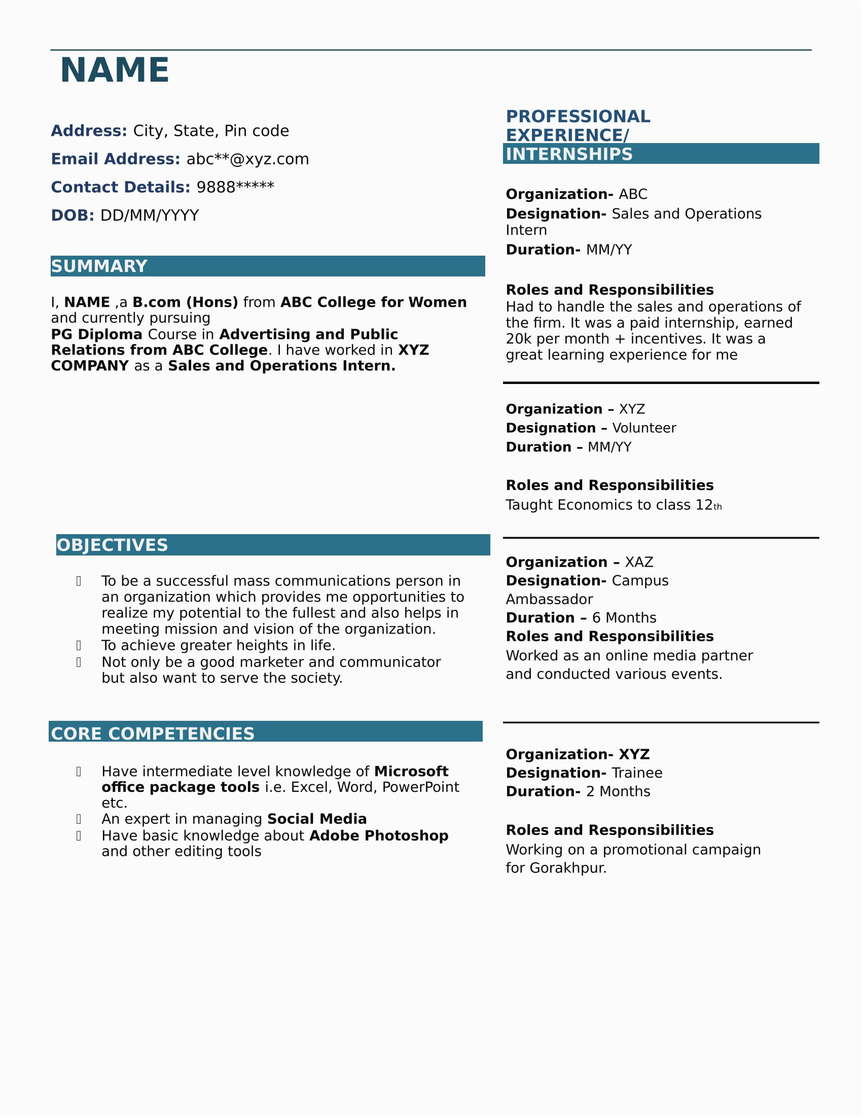 Resume Samples for B Com Freshers Download B Fresher Resume format Download