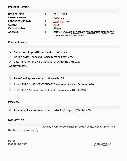 sample resume for b pharmacy freshers