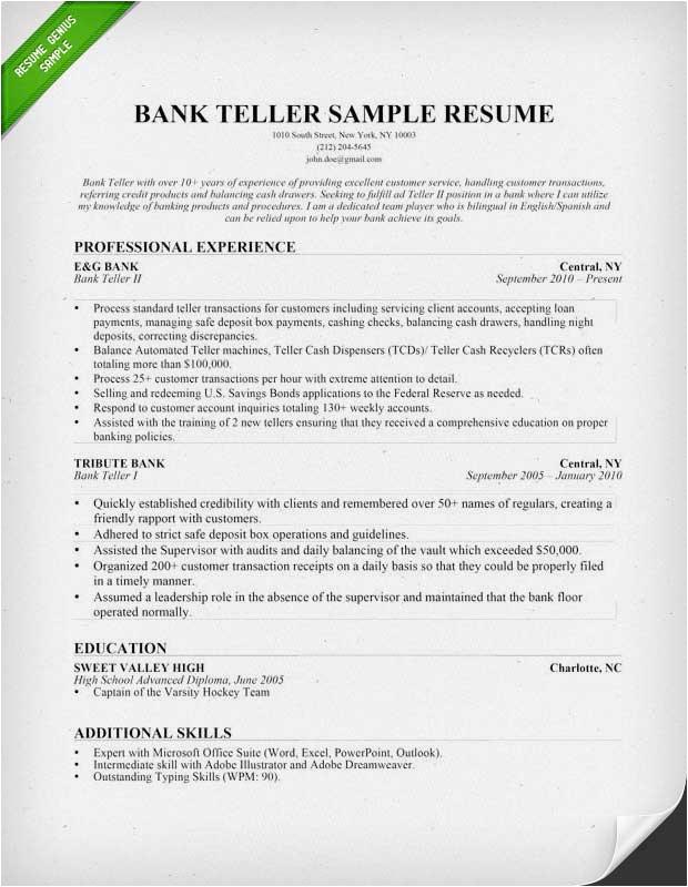 bank teller resume example