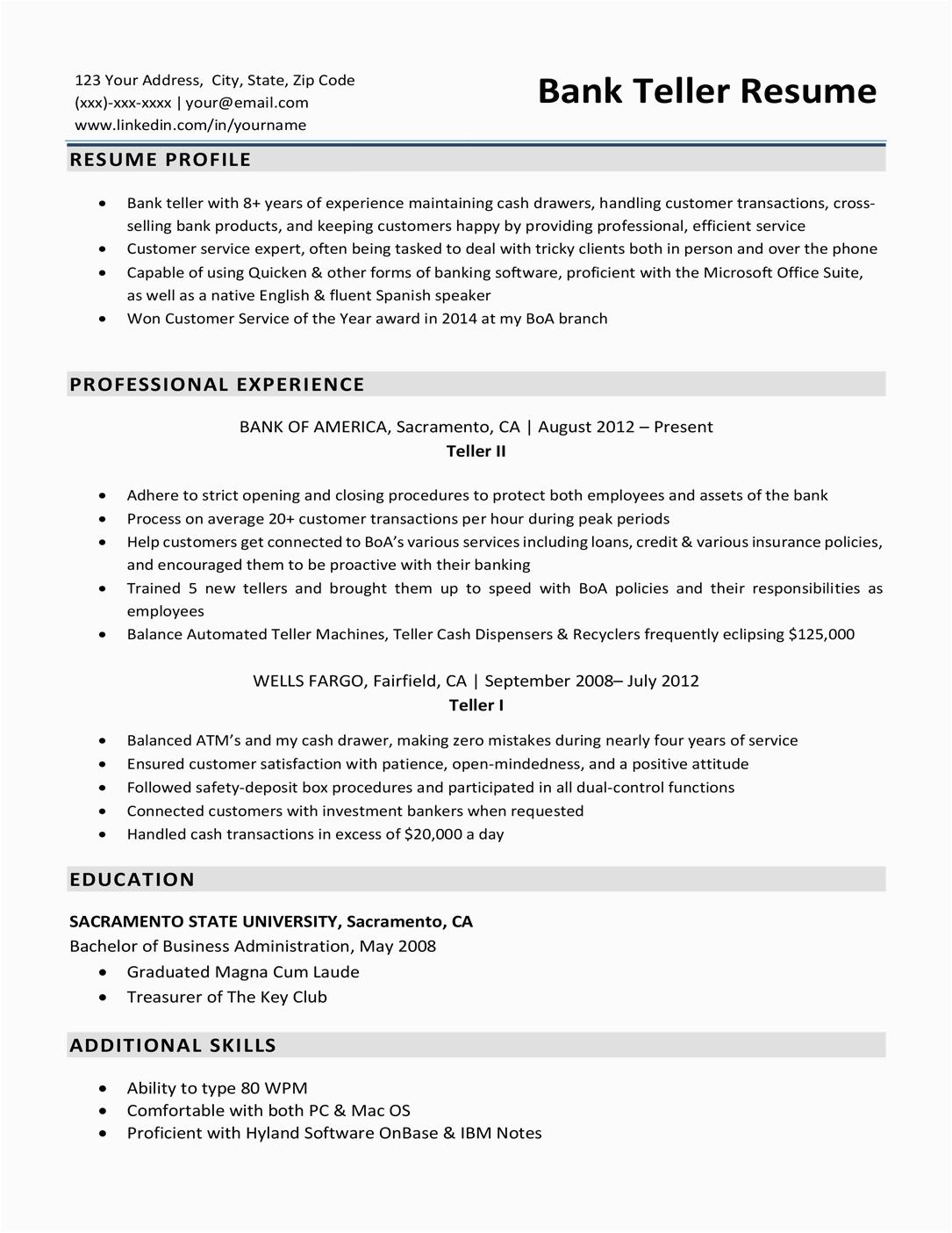 bank teller resume sample