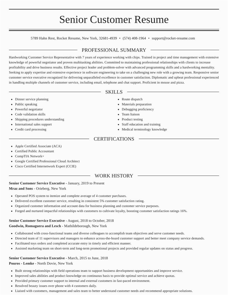 senior customer service executive position resumes templates and samples