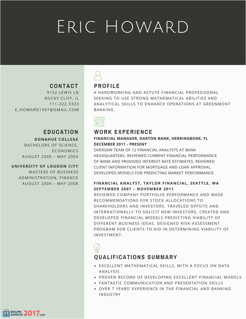 Resume Samples for Experienced Finance Professionals Finest Resume Samples for Experienced Finance