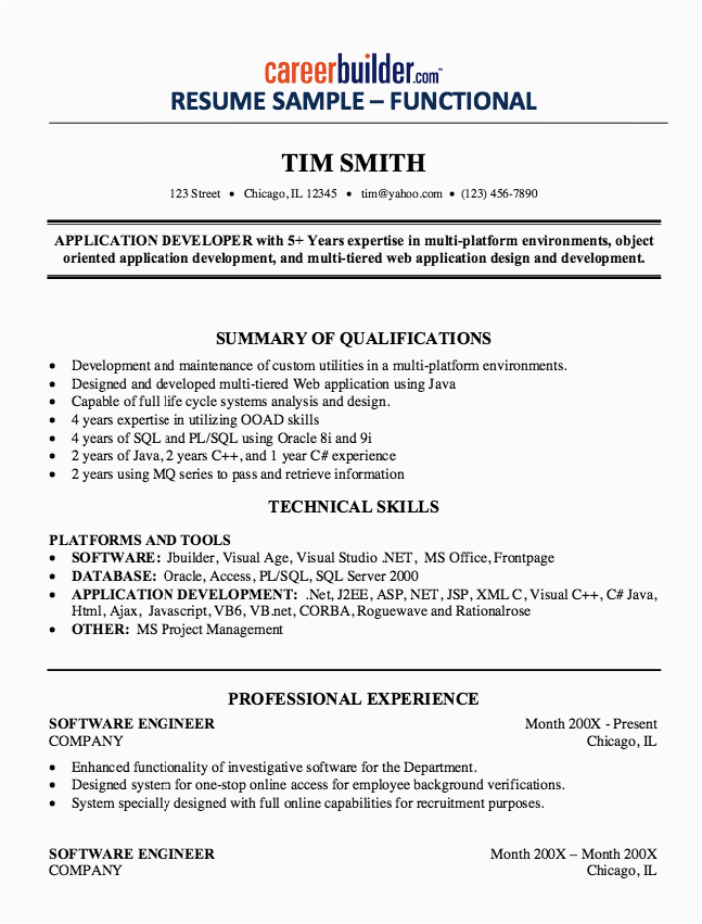experienced software engineer resume sample