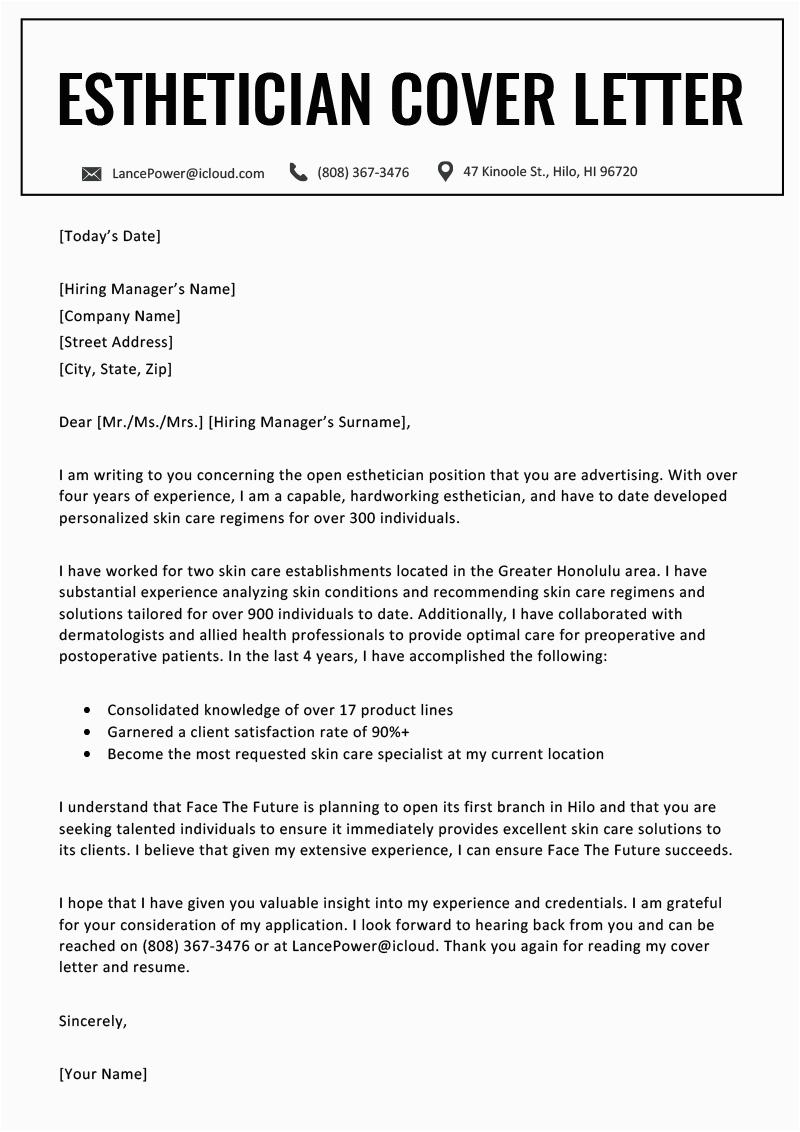 Sample Cover Letter for Esthetician Resume Esthetician Cover Letter Sample for Download Writing Tips