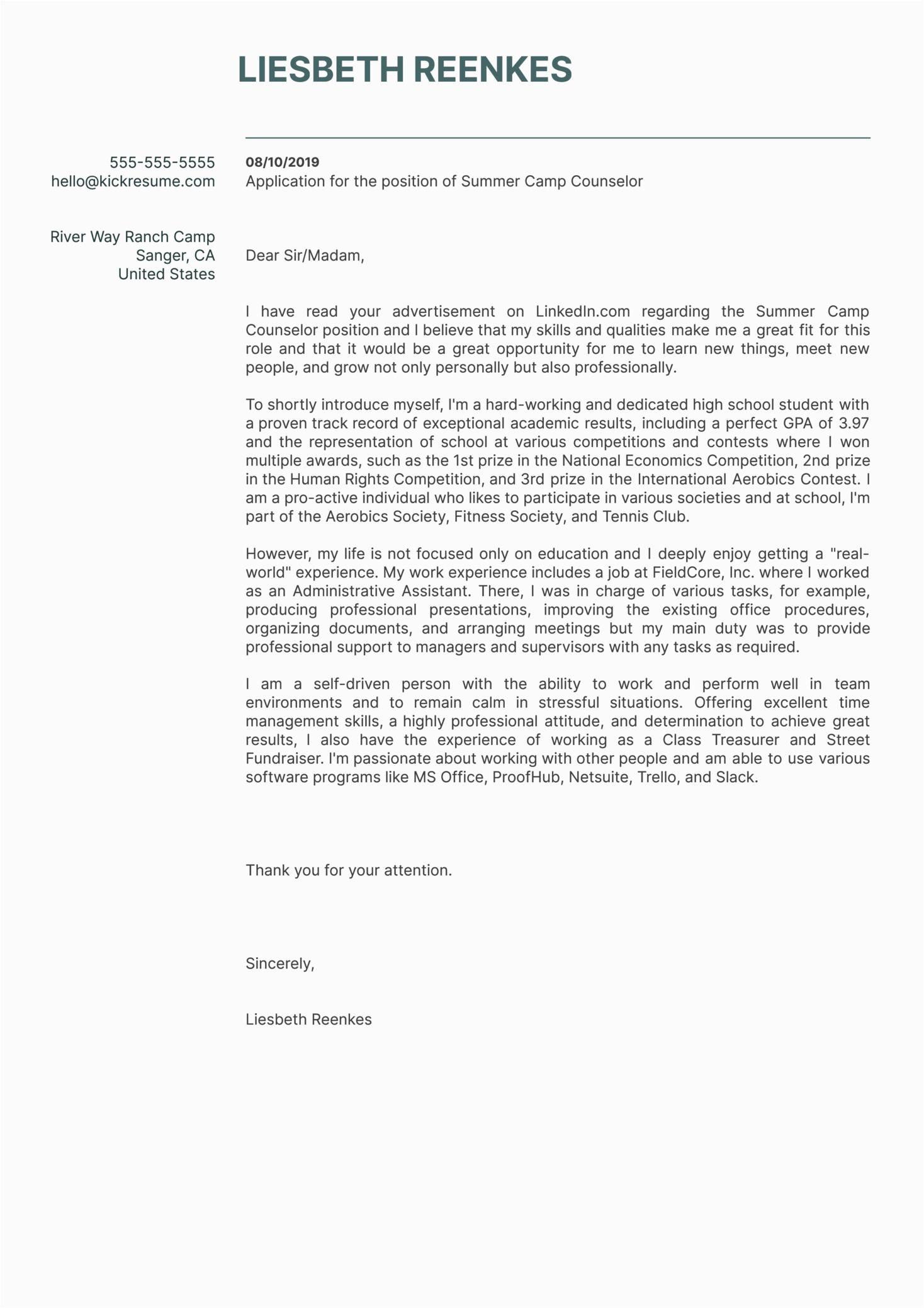 high school student cover letter sample