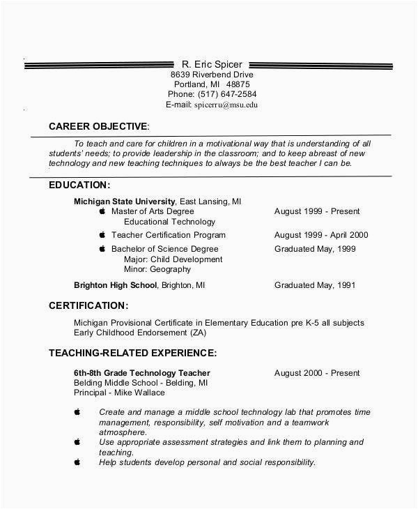 Sample Of Objectives In Resume for Teachers Teacher Resume Examples 26 Free Word Pdf Documents