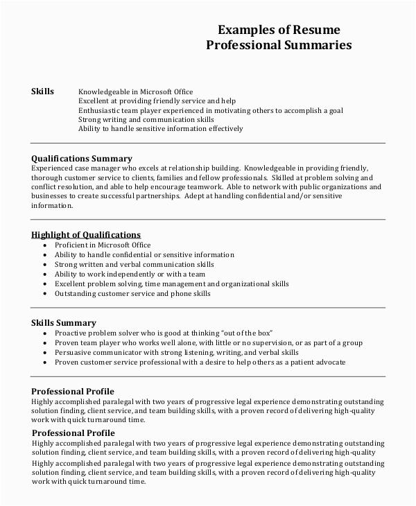 resume profile example