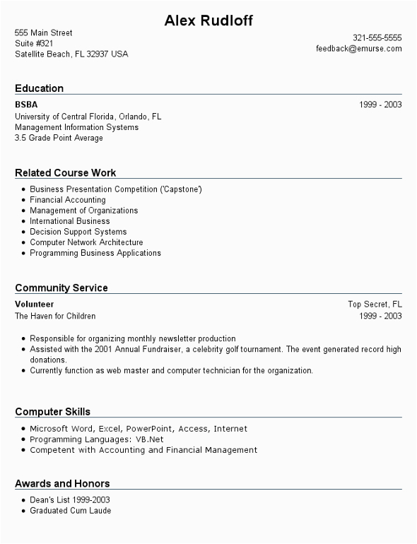 resume format for college students with