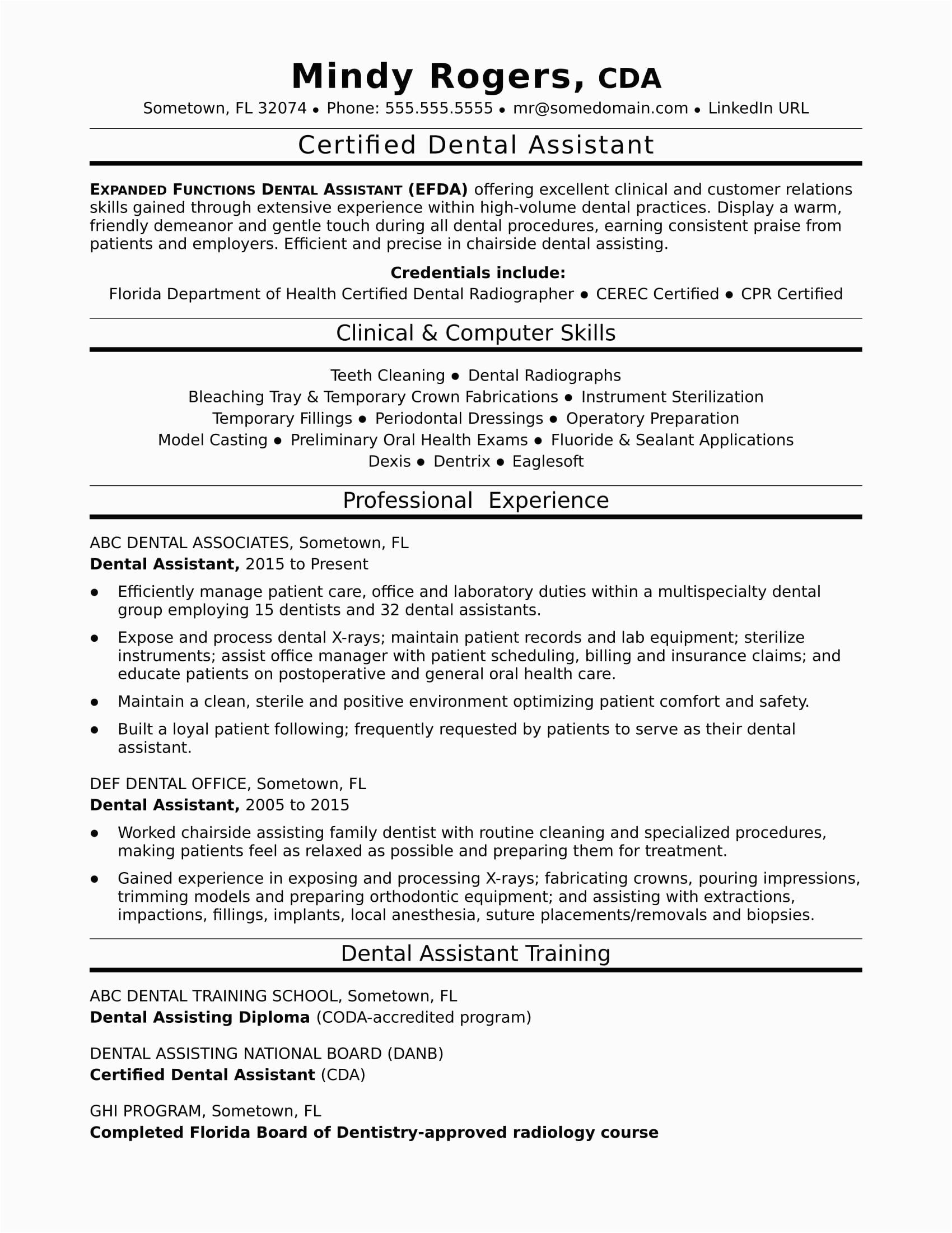 sample resume dental assistant