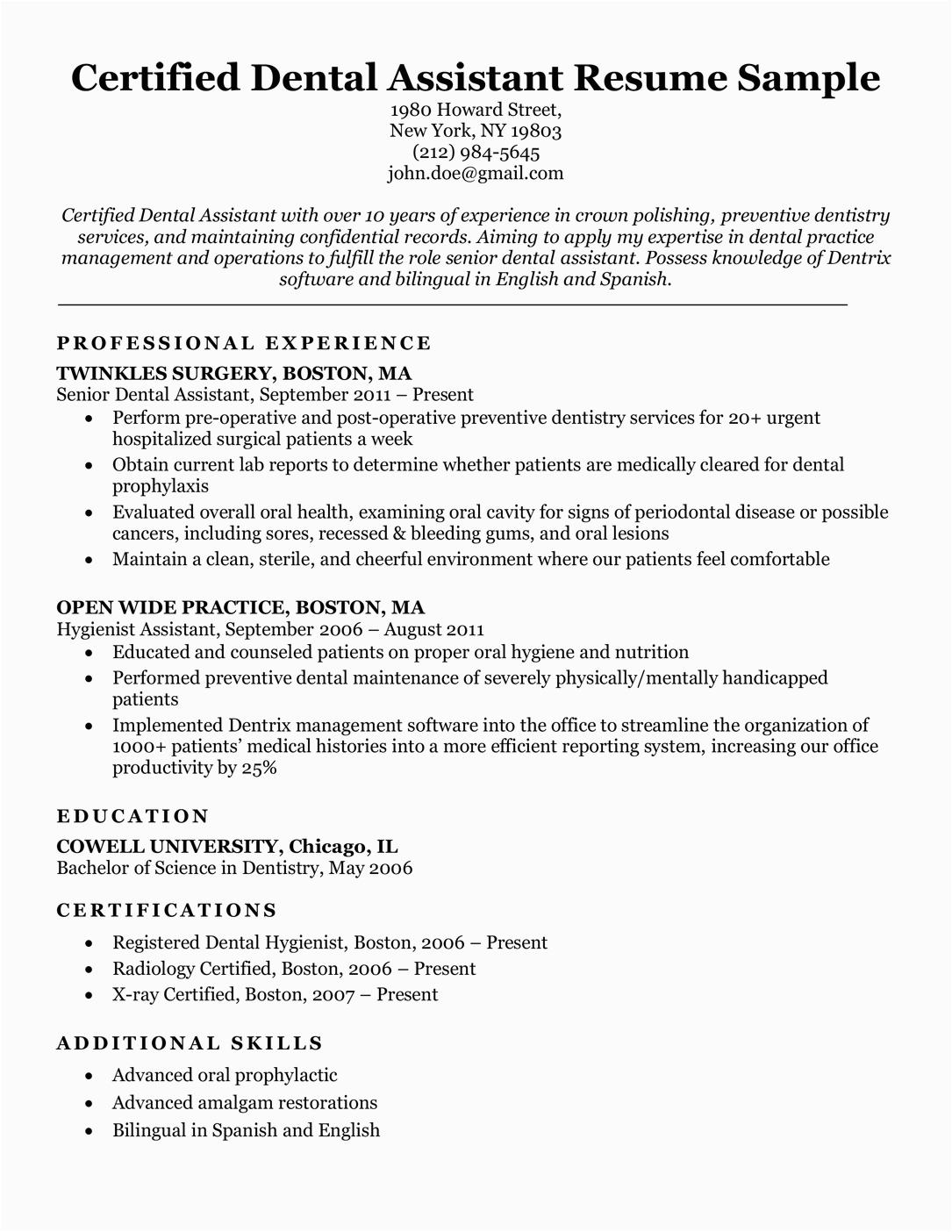 Sample Of Resume for Dental assistant Dental Resume Examples & Writing Tips