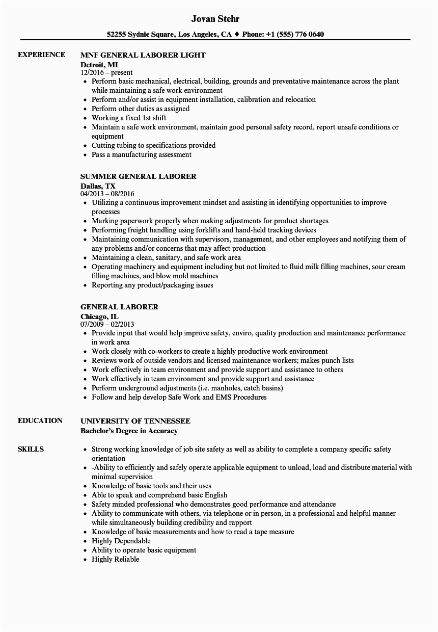 Sample Of Resume for General Labor General Labor Resume Examples Free Resume Templates