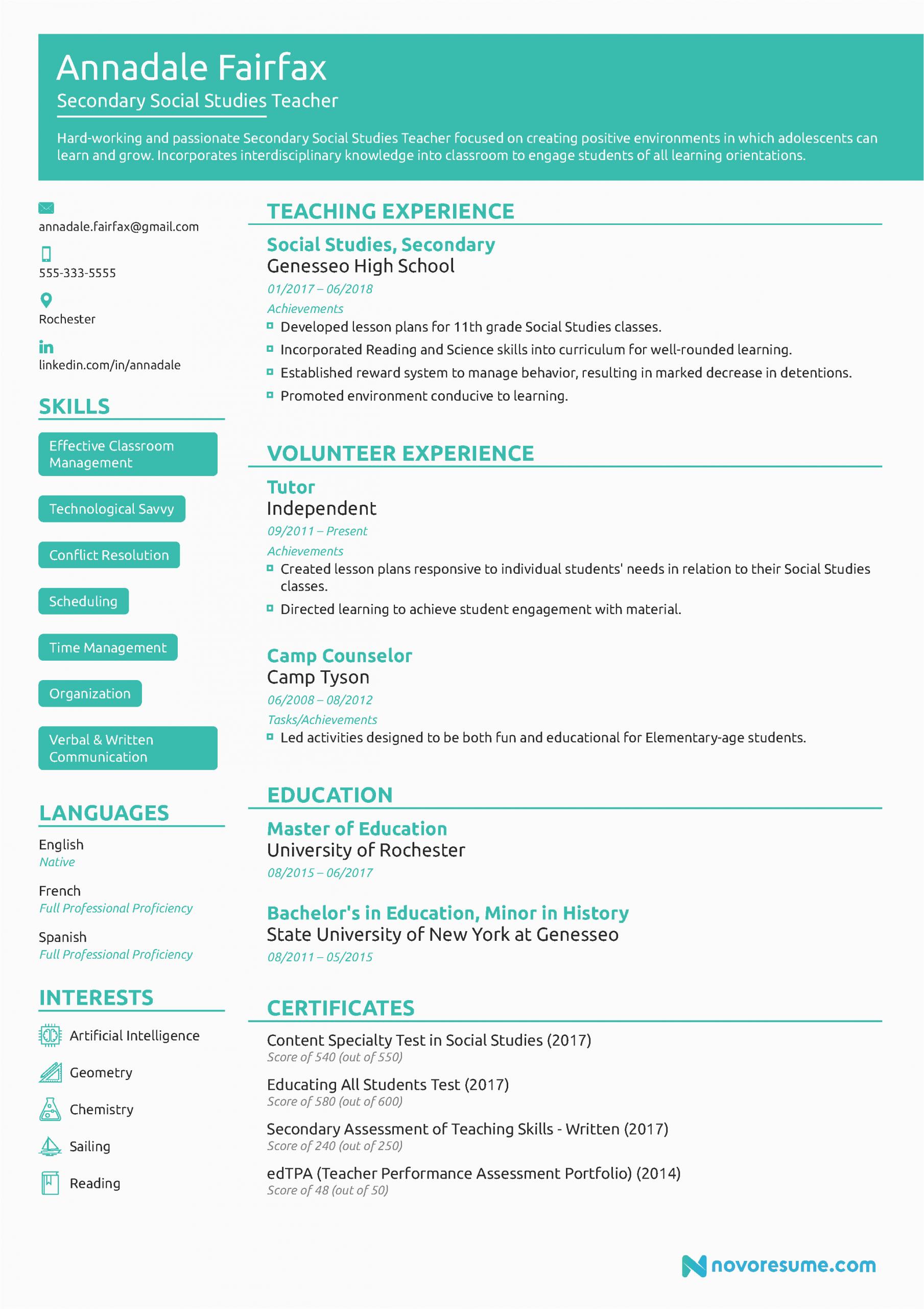 Sample Of Resume for Job Application for Teacher Teacher Resume Example [w Free Template]