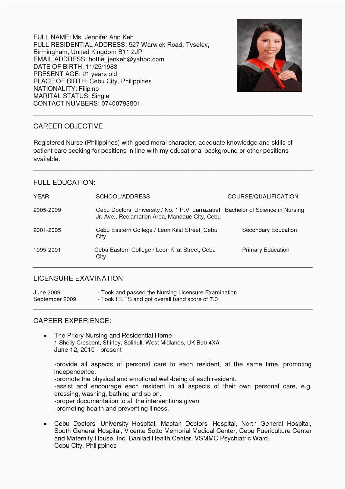 resume nurses sample