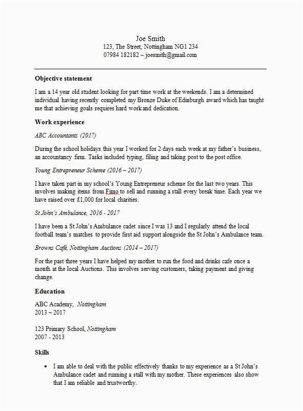 Sample Resume for 15 Year Old with No Experience Cv Template for 15 Year Old Uk