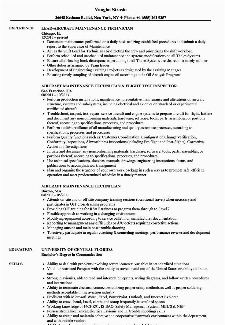 Sample Resume for Aircraft Maintenance Technician Ojt Lovely Aircraft Maintenance Technician Resume Talktomartyb