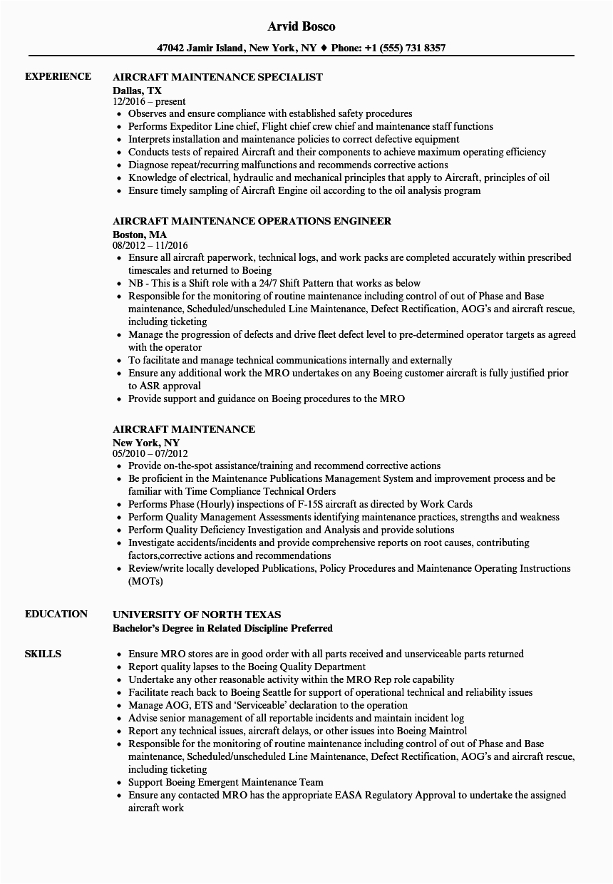 resume for aircraft maintenance