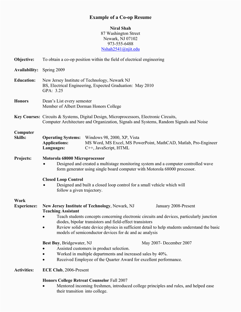 Sample Resume for Co Op Position Example Of A Co Op Resume