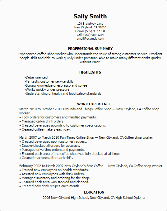 Sample Resume for Coffee Shop Worker Coffee Shop Worker Resume Template — Best Design & Tips