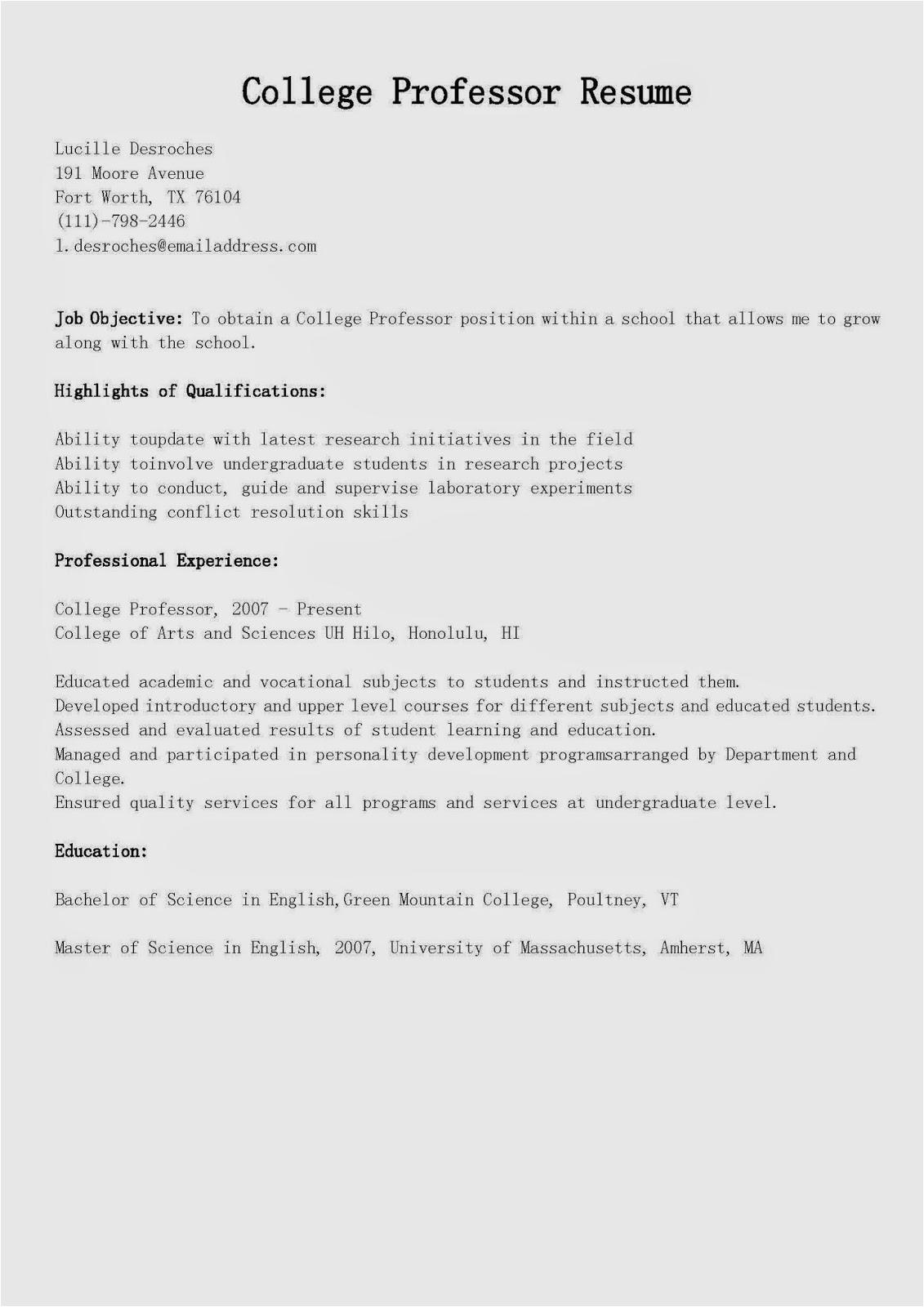 college professor resume sample