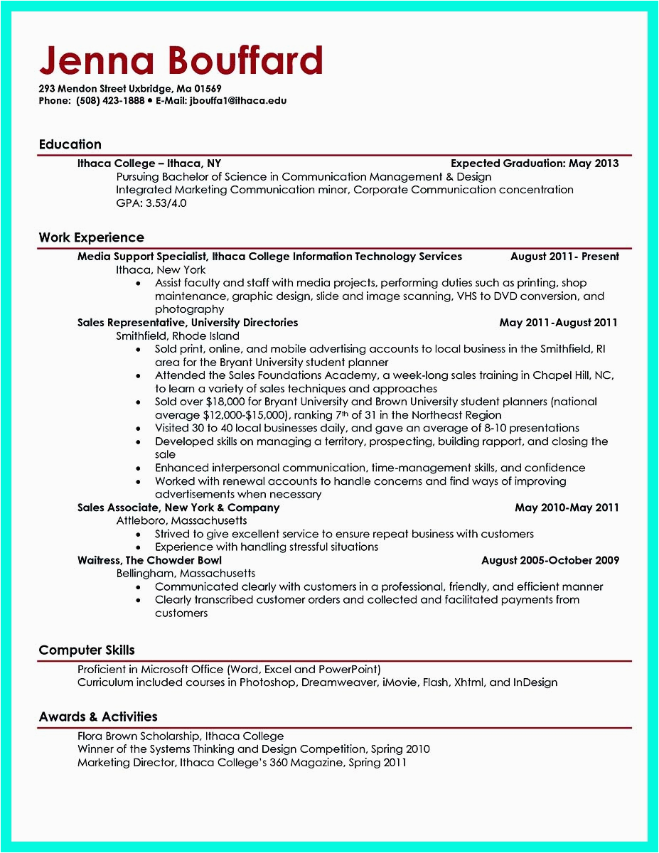 Sample Resume for College Graduate with No Experience Cool Sample Of College Graduate Resume with No Experience