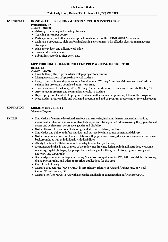 Sample Resume for College Instructor Position 15 Sample College Resume