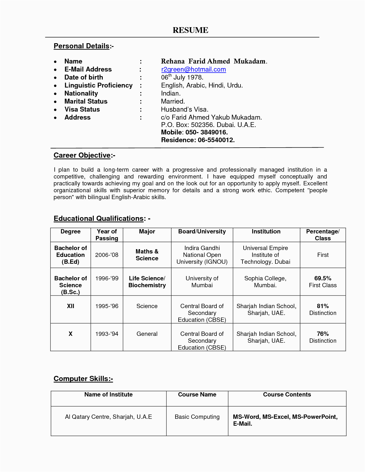 Sample Resume for College Principal In India Resume format Used In India
