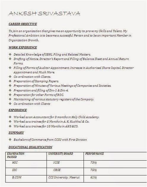 Sample Resume for Commerce Graduate Fresher Merce Resume format for Freshers B Graduate Best