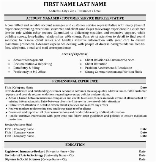 insurance resume samples