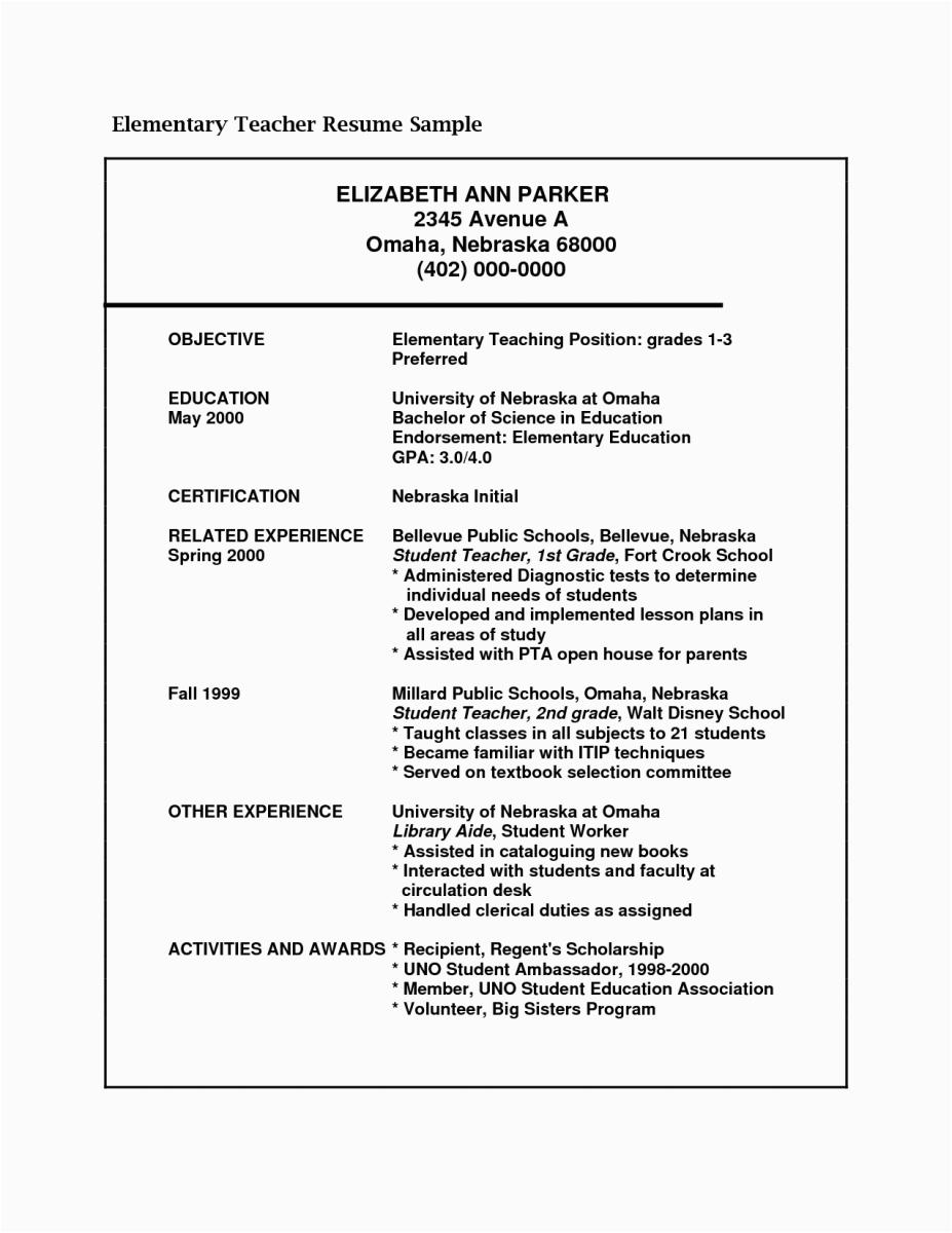 sample resume for teaching position