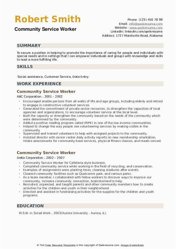 Sample Resume for Community Service Worker Munity Service Worker Resume Samples