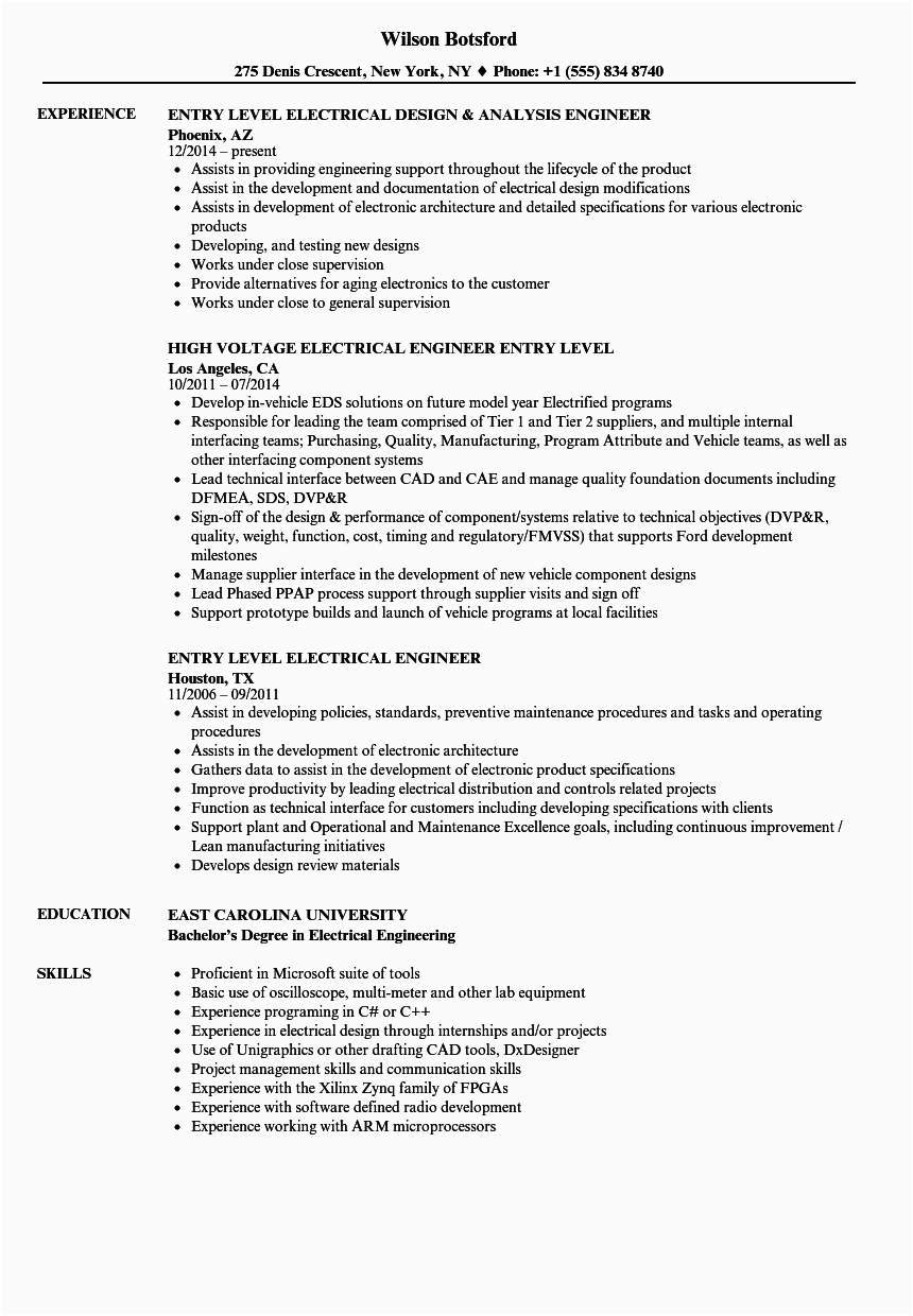 Sample Resume for Entry Level Electrical Engineer Entry Level Electrical Engineer Resume Samples