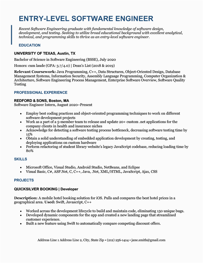 entry level software engineer resume
