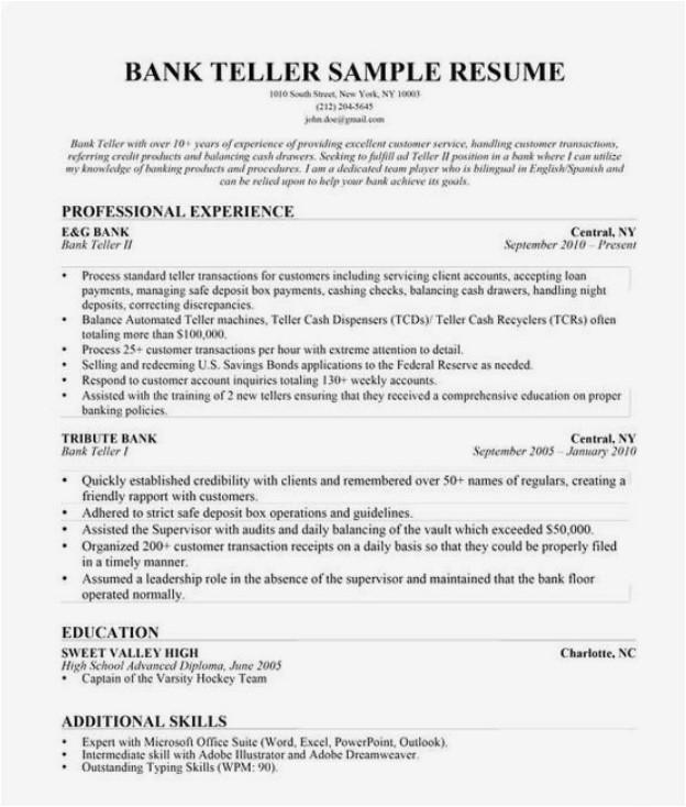 entry level bank teller resume 3