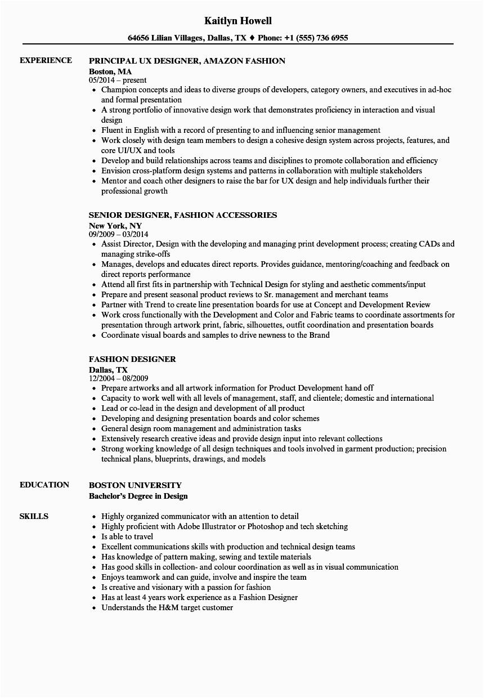 Sample Resume for Fashion Designer Fresher Fashion Sample Resume for Fashion Designer Fresher