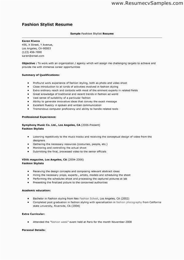 Sample Resume for Fashion Stylist Internship Fashion Stylist Resume