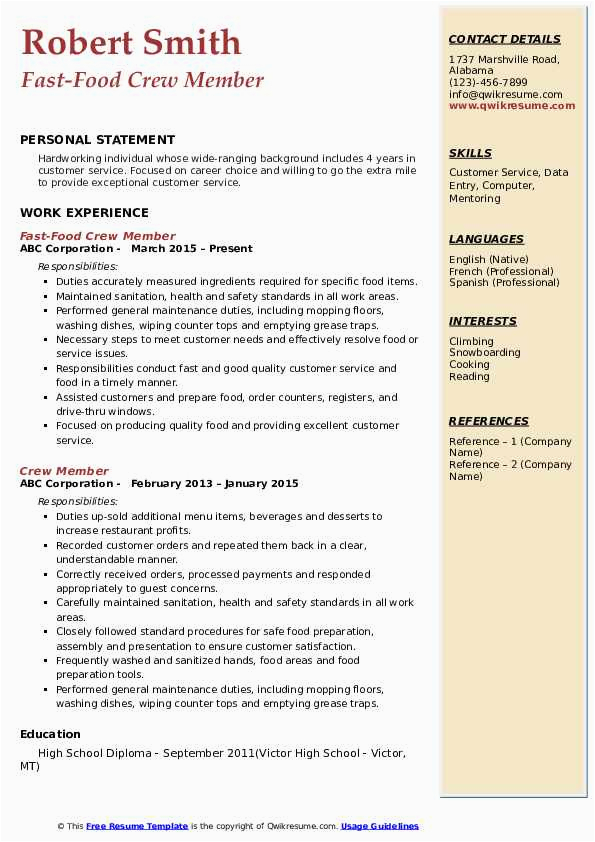 Sample Resume for Fast Food Service Crew without Experience Crew Member Resume Samples