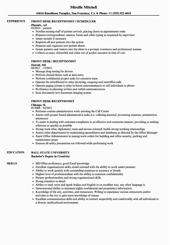 Sample Resume for Hotel Front Desk Receptionist Front Desk Receptionist Resume