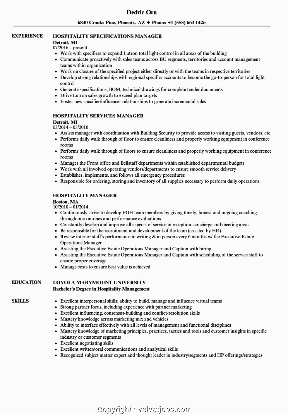 Sample Resume for Hotel Management Job Best Hotel Manager Resume Sample Hospitality Manager