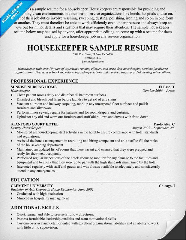 hotel housekeeping resume with no