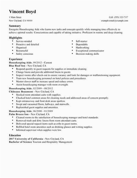 housekeeper resume should be able to