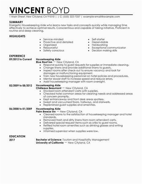 Sample Resume for Housekeeping with No Experience Housekeeping Aide Resume Sample