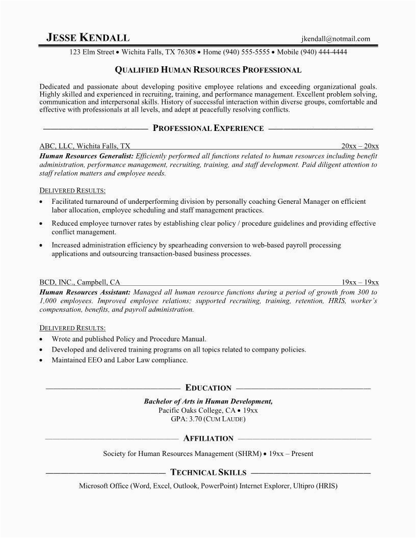 sample resume for hr assistant fresh