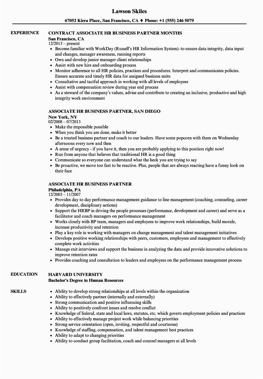 associate hr business partner resume sample