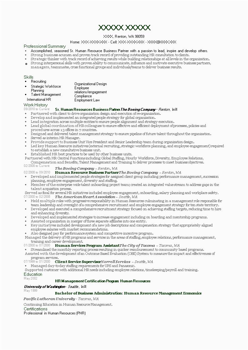 hr business partner resume