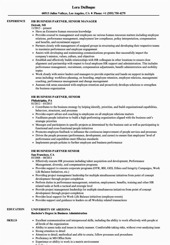 hr business partner senior resume sample